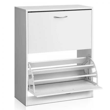 2 Door Shoe Cabinet - White