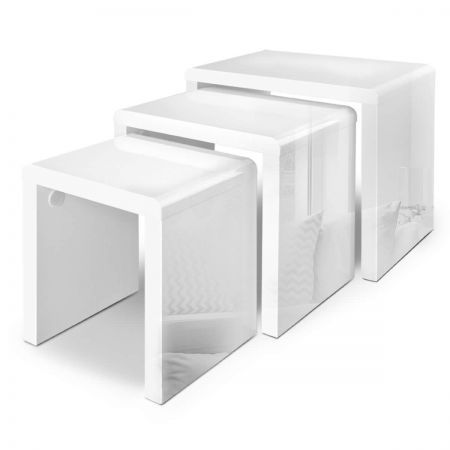 Set of 3 Nesting Tables High Gloss Finish - White