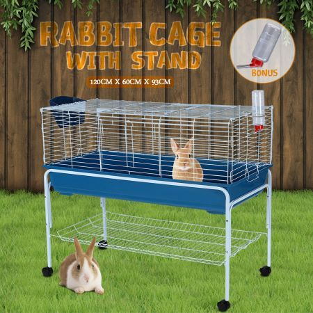 120cm Bunny Home Rabbit Guinea Pig Animal Cage Hutch Habitat Wheel Stand House