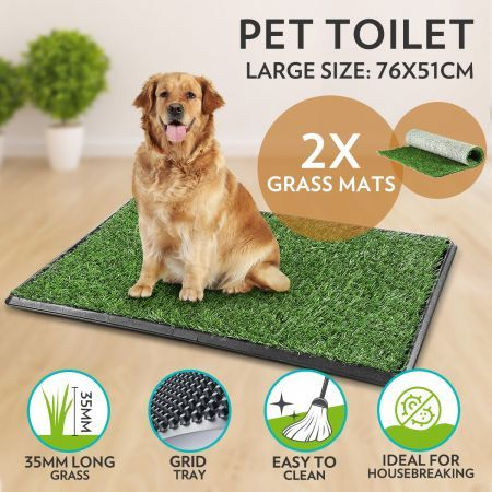 Pet Toilet Tray Puppy Potty Training with 2 Grass Mats