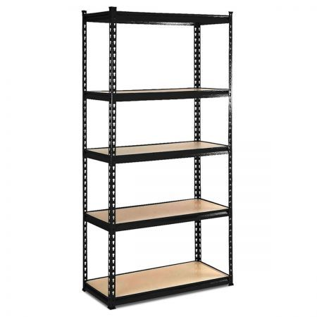 Freestanding 5-Tier Shelving Unit Adjustable Storage Rack - Black