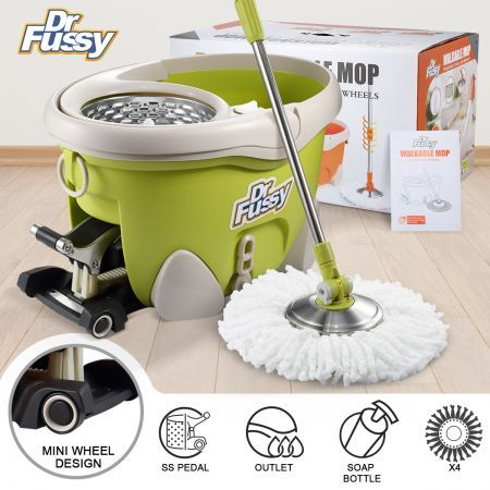 DR FUSSY Walkable Spin Mop Bucket System Hurricane Mop with Pedal 4 Bonus Mop Heads 12L - Green