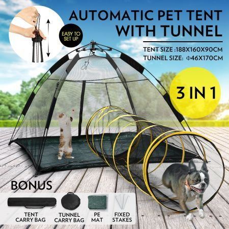 Outdoor Pop-up Pup Tent Portable for Pets Dogs Cats with Tunnel One Step Assembly & Outdoor Pop-up Pup Tent Portable for Pets Dogs Cats with Tunnel ...