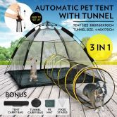Outdoor Pop-up Pup Tent Portable for Pets Dogs Cats with Tunnel One Step Assembly