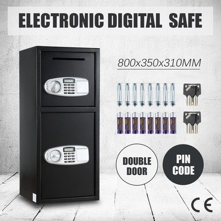 Electronic Double Door Safe Depository Drop Box LCD