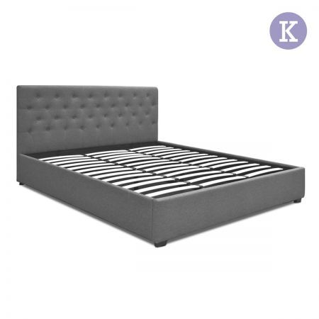 King Gas Lift Fabric Bed Frame with Headboard - Dark Grey