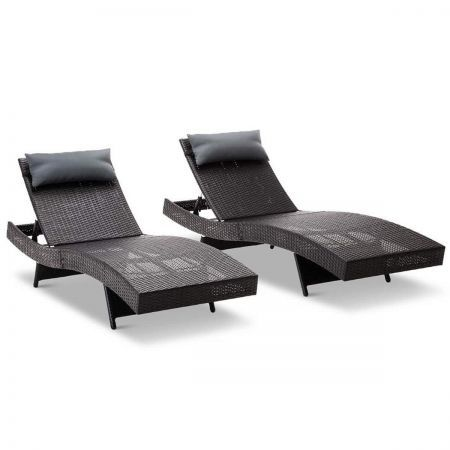 Set of 2 Outdoor Sun Lounge with Lavender Grey Pillow - Black