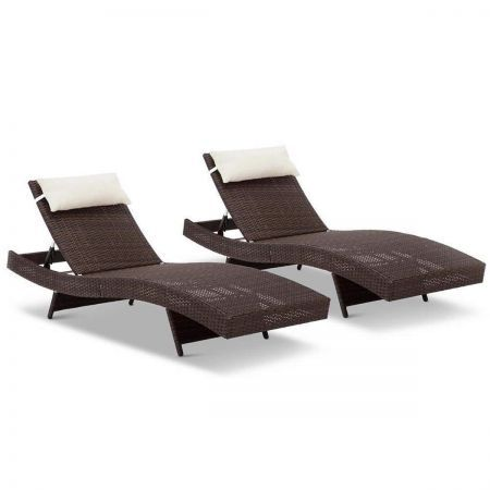 Set of 2 Outdoor Sun Lounge with Beige Pillow - Brown