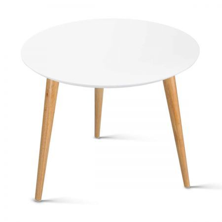 Round Side Table Coffee Table - White