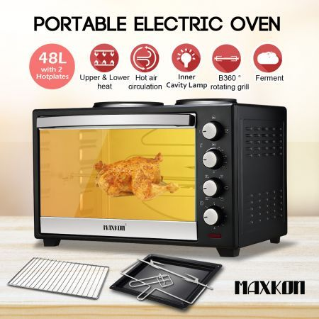 Maxkon 48L Portable Oven Electric Convection Toaster with Rotisserie & Hotplates �?Black