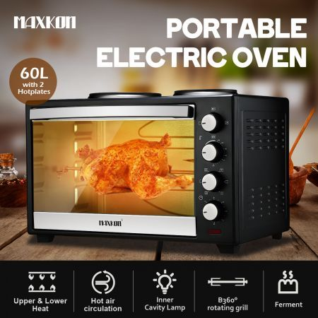 Maxkon 60L Portable Oven Electric Convection Toaster with Rotisserie & Hotplates – Black