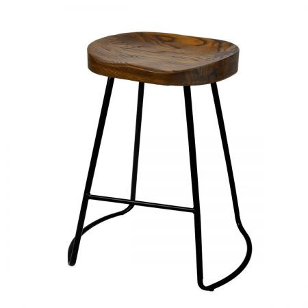 Set of 2 Steel Bar Stools with Wooden Seat 65cm