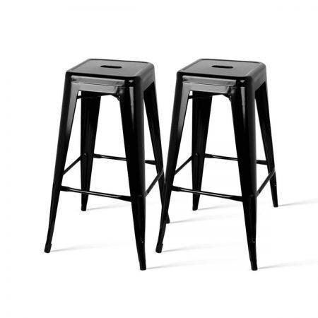 Set of 2 Steel Kitchen Bar Stools 76cm - Black