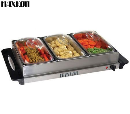 Stupendous Maxkon 3 Tray Buffet Service Stainless Steel Warmer Clear Lids W Thermostat Interior Design Ideas Apansoteloinfo