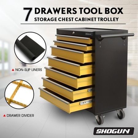 SHOGUN Tool Chest 7-Drawer Storage Cabinets Trolley with A Side Handle –Yellow and Black