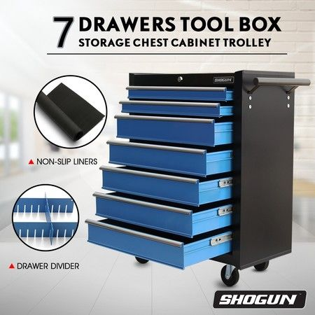 SHOGUN Tool Chest 7-Drawer Storage Cabinets Trolley with A Side Handle - Blue and Black
