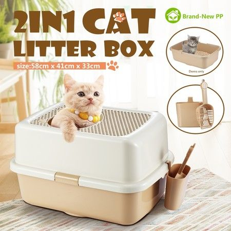Cat Toilet Litter Box Tray House With Handle and Scoop