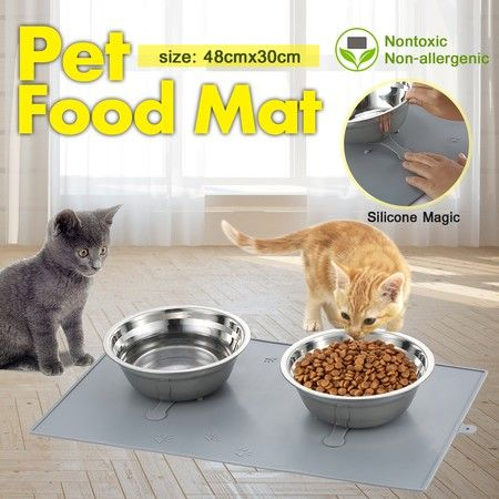 Non-Slip Silicone Pet Feeder Mat Dish Bowl with 2 Bowls 30*48cm - Grey