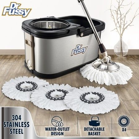 DR FUSSY 304 Stainless Steel Spin Mop Bucket System with Detachable Basket  10L - Silver