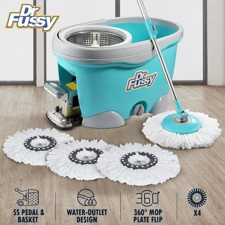 DR FUSSY 9L Magic Spin Swivel Mop Bucket System with 4 Bonus Heads - Blue