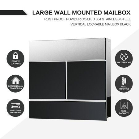 Large Wall Mounted Mailbox 304 Stainless Steel Lockable Letterbox with Newspaper Slot - Black