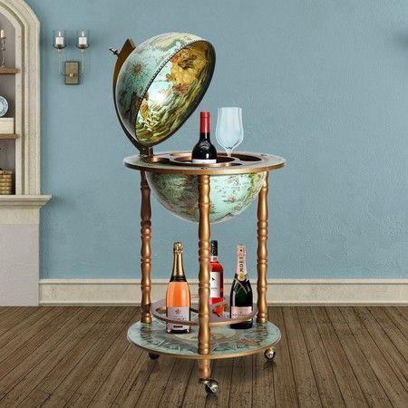 Deluxe Handcrafted Globe Bar Cabinet Wine Rack Drinks Trolley