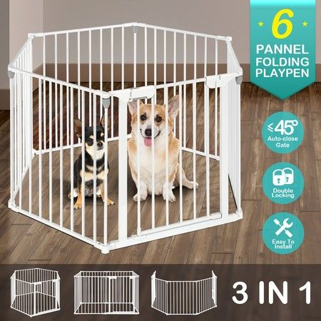 3-in-1 Metal Safety Playpen Puppy Kids with Double Locking System - White