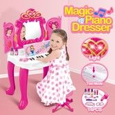 Piano Dressing Table Girls Makeup Vanity with Music and Light