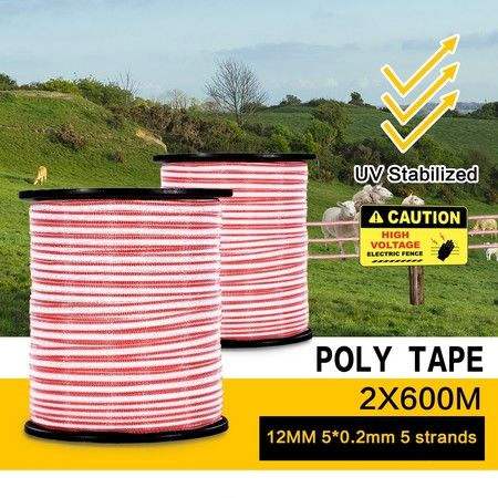 2 x 600M Roll Polytape Electric Stainless Steel UV Stabilized Fence Poly Tape Wire for Livestock