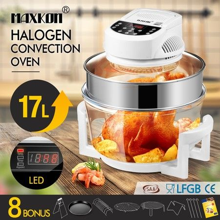 Maxkon 17L Halogen Oven Cooker Electric Air Fryer 3Hr-Timer & LED Screen White