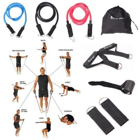 9Pcs Resistance Bands Elastic Exercise Set Fitness Tube Yoga Workout Pilates Crossfit Equipment Training Rope
