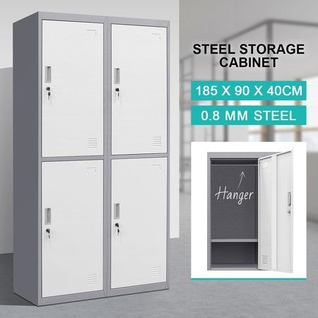 4 Doors Steel Storage School Gym Office Locker Cabinet w/Hanger - Dark, Grey White