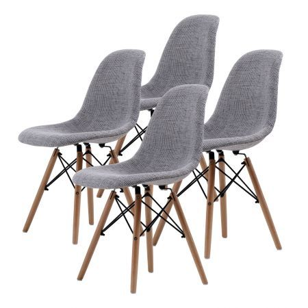 Set of 4 Replica Eames DSW Dining Chairs - Grey