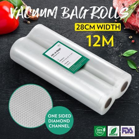2 Rolls 28cm*600cm Vacuum Sealer Bags Foodsaver Rolls Embossed Bag for Vacuum Sealers
