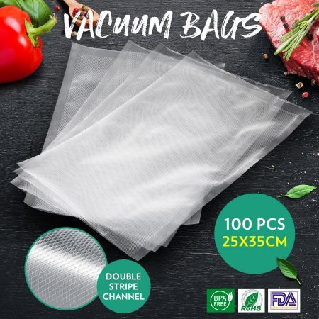 Vacuum Seal Bags 100PCS 25x35CM Pre-cut Food Saver Double Sided Twill Bag for Vacuum Sealers