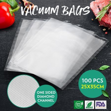 Vacuum Sealer Bags 25x35CM 100PCS Embossed Pre-cut Food Saver Bags for Vacuum Sealers