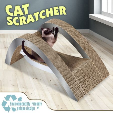 Cat Scratching Post Corrugated Cardboard Scratcher Scratchboard - Hammock Shape