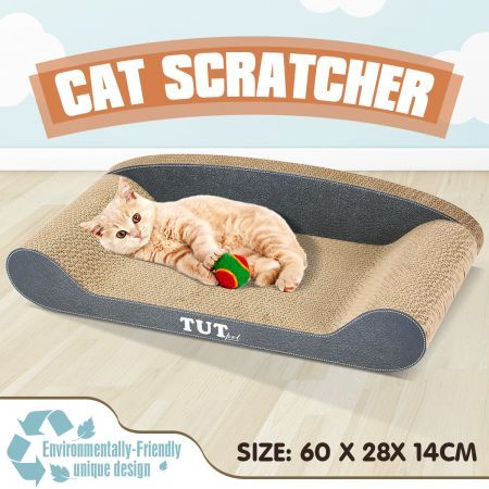 Cat Scratching Post Corrugated Cardboard Scratcher Scratchboard - Sofa Shape