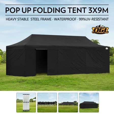 OGL 3x9M Pop up Outdoor Gazebo Folding Tent Waterproof Marquee Canopy Party Wedding Tent - Black