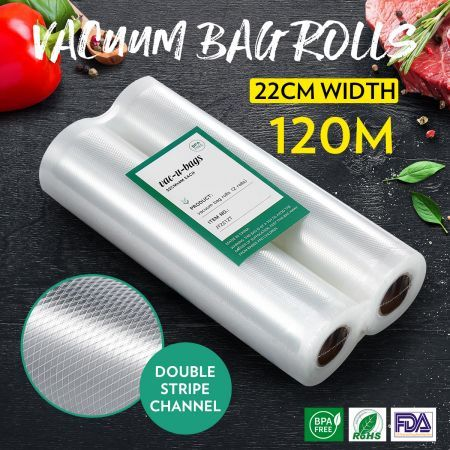20 Rolls 22cm*600cm Vacuum Seal Bags(total 120M) Foodsaver Rolls Double-Sided Twill Bag for Vacuum Sealers