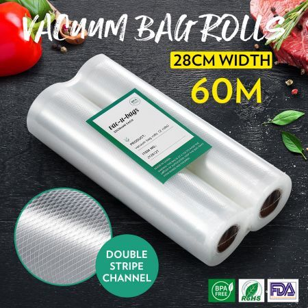 10 Rolls 28cm*600cm Vacuum Sealer Bags(total 60M) Foodsaver Rolls Double-Sided Twill Food Saver Bag