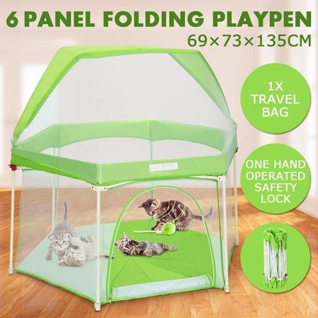 Pop-up Puppy Playpen Foldable 6-Panel Play Pen Metal Frame with Awning - Green
