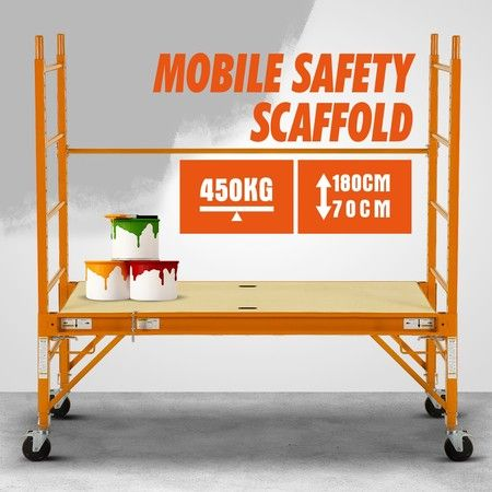Safety Scaffolding Height-adjustable Work Platform 450KG with Lockable Wheels Yellow