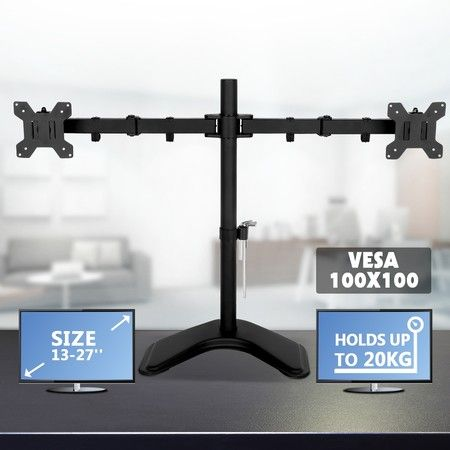 "13""-27"" Dual Monitor Stand Vesa Bracket 90° Tilting & 180° Swivel Height-Adjustable Desk Mount"