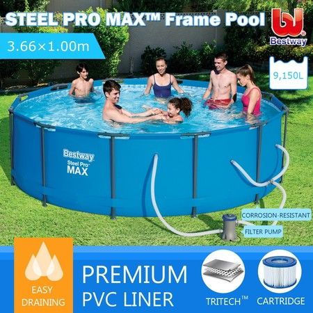 Bestway 3.66M Above Ground Steel Frame Swimming Pool w/Filter Pump
