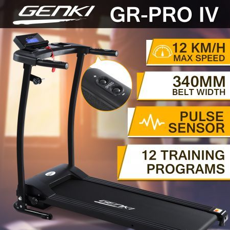 Genki Treadmill Folding Fitness Exercise Machine Gym Equipment w/340mm Belt
