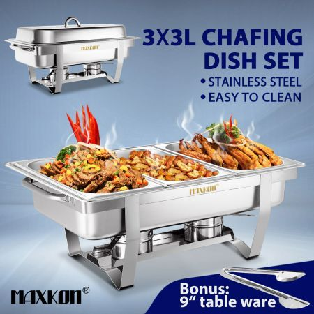 3 x 3L Bain Marie Bow Chafing Dishes Stainless Steel Buffet Warmer Stackable Set