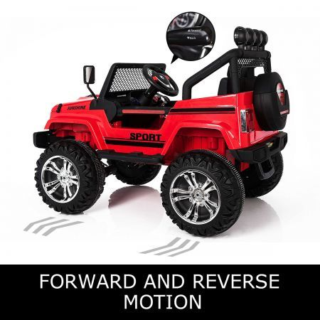 Electric Ride on Jeep Remote Control Off Road Kids Car w/Built-in Songs - Red