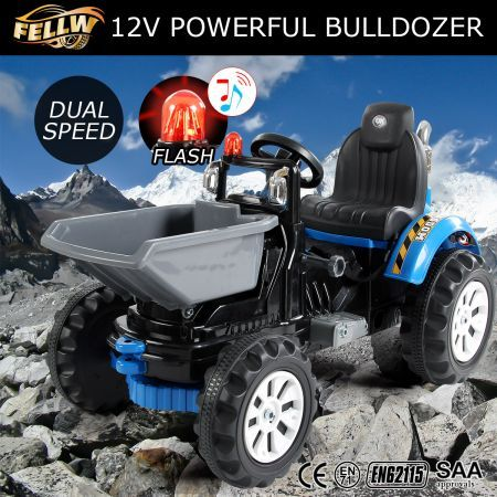Kids Tractor 12V Electric Ride on Digger Car Black & Blue