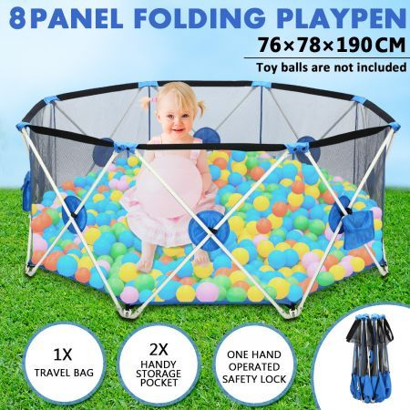 Pop-up Puppy Playpen Foldable 8-Panel Play Pen Metal Frame for Indoor & Outdoor - Blue